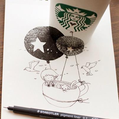 スターバックスカップ&イラスト