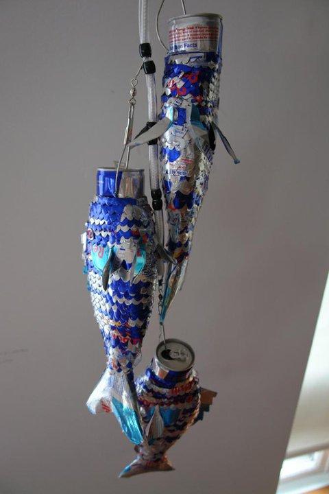 魚 レッドブルの空缶アート