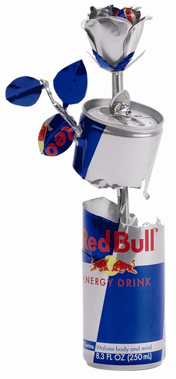 花 レッドブルの空缶アート