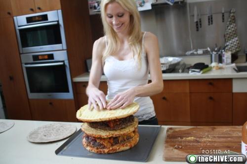 hottie-makes-a-double-decker-pizza-burger-pics-25