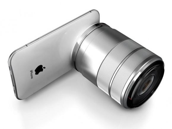 レンズを装着したiPhone