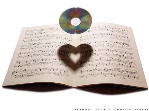 CDの影がハートに