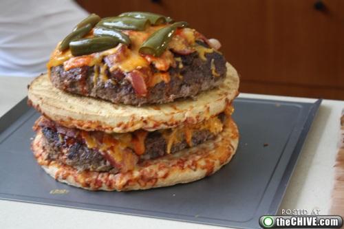 hottie-makes-a-double-decker-pizza-burger-pics-24